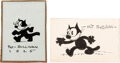Animation Art:Production Drawing, Felix the Cat Small Drawings Signed by Pat Sullivan Group of 2 (King Features Syndicate/Pat Sullivan Studio, c. 1920s). ... (Total: 4 Items)