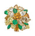 Jewelry, A Colored Diamond, Diamond, Emerald, and Gold Ring. Stones: Round brilliant, full, pear, and marquise-shaped colored and nea...