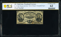 Fr. 1274SP 15¢ Third Issue Narrow Margin Face PCGS Banknote Uncirculated 62