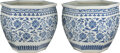Ceramics & Porcelain, A Pair of Chinese Blue and White Porcelain Jardinières, Qing Dynasty, 18th century. 17-3/8 x 20 x 20 inches (44.1 x 50.8 x 5... (Total: 2 Items)