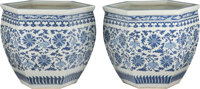 A Pair of Chinese Blue and White Porcelain Jardinières, Qing Dynasty, 18th century 17-3/8 x 20 x 20 inches (44.1...