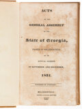 Books:Americana & American History, Acts of the General Assembly of the State of Georgia, Passed in Milledgeville at an Annual Session in November and December,... (Total: 3 Items)