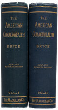 """Books:Americana & American History, James Bryce. The American Commonwealth. New York: Macmillan Co., 1917. """"New edition,"""" updated and revised.... (Total: 2 Items)"""