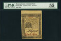 Colonial Notes:Pennsylvania, Pennsylvania April 25, 1776 18d PMG About Uncirculated 55.. ...