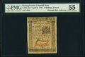 Pennsylvania April 25, 1776 2s 6d PMG About Uncirculated 55