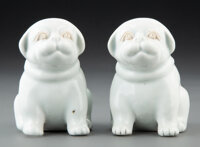 A Pair of Japanese Hirado Ware Dogs 3-1/2 x 2-3/4 x 3-3/8 inches (8.9 x 7.0 x 8.6 cm) (each)  ... (Total: 2 Items)
