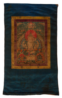 A Tibetan Thangka of a Four-Armed Bodhisattva Marks: Marks to verso: three red seals 40-3/4 x 23-1/2 inches (103.5 x 59...