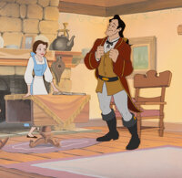 Beauty and the Beast Gaston and Belle Presentation Cel and Key Master Production Background (Walt Disney, 1991)