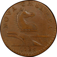 1786 COPPER New Jersey Copper, Straight Plow Beam, M. 15-T, W-4825, R.3, AU53 PCGS. PCGS Population: (1/0 and 0/0+). NGC...
