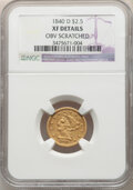 Liberty Quarter Eagles: , 1840-D $2 1/2 -- Obv Scratched -- NGC Details. XF. Mintage 3,532. . From The Long Island Collection. ...