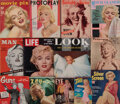 Movie/TV Memorabilia:Memorabilia, Marilyn Monroe (75) related vintage magazines and ephemera including Marilyn's first solo cover for The Family Circle...