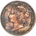 """Canada: Victoria """"Curved 5"""" 25 Cents 1885 MS64 ICCS"""