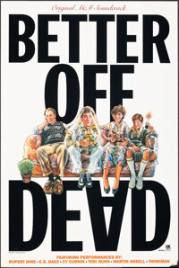"""Better Off Dead (A&M Records, 1985). Rolled, Very Fine-. Soundtrack Poster (24"""" X 36"""") Drew Struzan Ar..."""