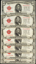 Small Size:Group Lots, Fifteen $5 Legal Tender Notes from the 1928B, 1928C, 1928E, and 1928F Series. Very Fine.. ... (Total: 15 notes)