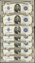Small Size:Silver Certificates, Fr. 1650 $5 1934 Silver Certificates. Seven Examples. Very Fine-Extremely Fine or Better.. ... (Total: 7 notes)