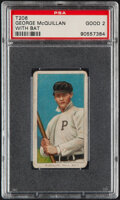 Baseball Cards:Singles (Pre-1930), 1909-11 T206 Old Mill George McQuillan (With Bat) PSA Good 2....