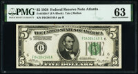 Fr. 1950-F $5 1928 Federal Reserve Note. PMG Choice Uncirculated 63