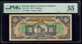 World Currency, Panama Banco Central de Emision 10 Balboas 1941 Pick 24a PMG About Uncirculated 55.. ...