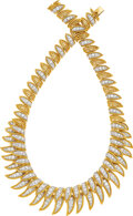 Jewelry, A Diamond, Platinum, and Gold Necklace . Stones: Full-cut diamonds weighing a total of approximately 14.00 carats. Metal: Pl...