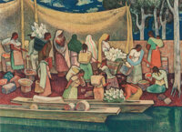 Millard Sheets (American, 1907-1989) The Island People of Janitzio (Landing at Patzcuaro) Lithograph in colors on pape...