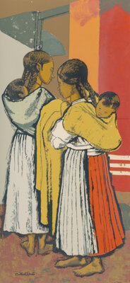 Millard Sheets (American, 1907-1989) Mexican Babysitter, 1949 Lithograph in colors on paper 24 x 11 inches (61 x 27.9