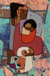 Bobby Hill (b. 1973) The Black Family Is A Revolutionary Act In Itself - III, 2020 Mixed Media on paper 36 x 23-7/8 i