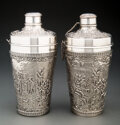 Silver & Vertu, A Pair of Barbour Silver Company Silver-Plated Repoussé Cocktail Shakers. Marks: BARBOUR S. P. CO., INTERNATIONAL S. CO., ... (Total: 2 Items)