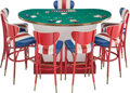 Furniture, A Phyllis McGuire Rat Pack Era Black Jack Table with Seven Stools and Gaming Pieces. Marks: (various). 38-1/2 x ... (Total: 9 Items)