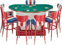 A Phyllis McGuire Rat Pack Era Black Jack Table with Seven Stools and Gaming Pieces Marks: (various) 38-1/2 x ... (Total...