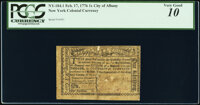 New York February 17, 1776 City and County of Albany 1s PCGS Very Good 10