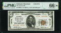National Bank Notes:Maryland, Oakland, MD - $5 1929 Ty. 2 The Garrett National Bank Ch. # 13776 PMG Gem Uncirculated 66 EPQ*.. ...