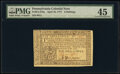 Colonial Notes:Pennsylvania, Pennsylvania April 10, 1777 6s PMG Choice Extremely Fine 45.. ...