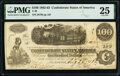 """Confederate Notes:1862 Issues, Manuscript Endorsements """"W.T. Goodwin and """"J.G. Michailoffsky"""" T40 $100 1862 PF-1 Cr. 298 PMG Very Fine 25.. ..."""