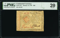 Continental Currency January 14, 1779 $20 PMG Very Fine 20