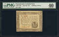 Colonial Notes:Pennsylvania, Pennsylvania April 20, 1781 1s 6d PMG Extremely Fine 40.. ...