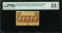 Fr. 1280 25¢ First Issue PMG About Uncirculated 53 EPQ