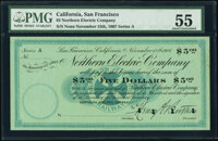 San Francisco, CA- Northern Electric Company $5 Nov. 15, 1907 PMG About Uncirculated 55