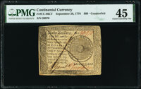 Continental Currency September 26, 1778 $60 Contemporary Counterfeit PMG Choice Extremely Fine 45