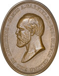 U.S. Mint Medals, Undated James A. Garfield, Indian Peace Medal, Modern Restrike, Bronze Oval, Julian IP-44, MS64 NGC. By Charles E. Barber an...