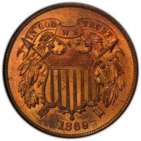 1869 2C MS65 Red PCGS. PCGS Population: (27/6 and 3/1+). NGC Census: (19/2 and 0/0+). CDN: $1,700 Whsle. Bid for NGC/PCG...
