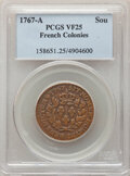 1767-A Sou VF25 PCGS. PCGS Population: (9/64). NGC Census: (8/16). From The Timpanogos Collection....(PCGS# 158651)