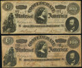 """Confederate Notes:1864 Issues, CT65/494 """"Havana Counterfeit"""" $100 1864 Two Examples Very Fine; About Uncirculated.. ... (Total: 2 notes)"""