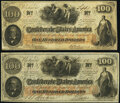 Confederate Notes:1862 Issues, T41 $100 1862 PF-11; PF-21 Cr. 319A; Cr. UNL Very Fine.. ... (Total: 2 notes)