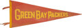 Football Collectibles:Others, 1940's Green Bay Packers Pennant from The Glen Christensen Collection - Rare Red Variation! ...