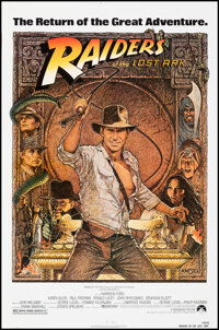 """Raiders of the Lost Ark (Paramount, R-1982). Rolled, Very Fine. One Sheet (27"""" X 41"""") Richard Amsel Artwork. A..."""