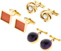 Estate Jewelry:Cufflinks, Amethyst, Coral, Cultured Pearl, Gold Cuff Links. ... (Total: 3 Items)