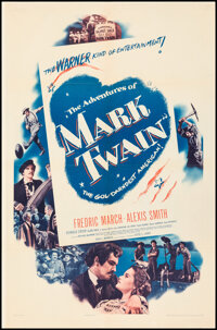 """The Adventures of Mark Twain (Warner Bros., 1944). Overall: Very Fine- on Linen. One Sheets (2) (27"""" X 41"""") St..."""