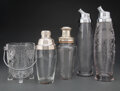 Glass, A Group of Four Etched Glass Cocktail Shakers and Ice Bucket. Marks: (various). 13-3/4 x 3-7/8 x 3-7/8 inches (34.9 x 9.8 x ... (Total: 5 Items)