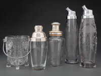 A Group of Four Etched Glass Cocktail Shakers and Ice Bucket Marks: (various) 13-3/4 x 3-7/8 x 3-7/8 inches (34.9 x 9.8...