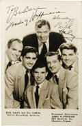 """Music Memorabilia:Autographs and Signed Items, Bill Haley Signed Photo. A b&w 5"""" x 7"""" photo of Haley and HisComets, inscribed and signed by Haley in black ink and matted ..."""